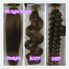 """18""""-32"""" Stick I-Tip Human Hair Extensions Straight Curly Wavy #8 Light Brown"""