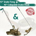 "47"" Snake Tongs Catcher+40"" Collapsible Snake Hook Reptile Grabber Handling Tool"