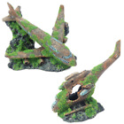 Moss Covered Airplane / Helicopter Wreck Aquarium Fish Tank Ornament Decoration