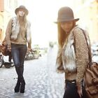 Women Sleeveless Faux Fur Vest Tops Gilet Outwear Shaggy Waistcoat Jacket Coat01