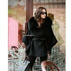 New Womens Spring Warm Long Wool Fur Collar Coat Jacke Trench Outwear Overcoat01