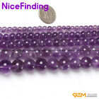 Natural Purple Amethyst Gemstone Round Stone Beads For Jewelry Making Strand 15""