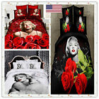 US SHIP Marilyn Monroe Bedding Vivid 3D Quilt Bedlinen Cotton Coverlet 4PCS Set