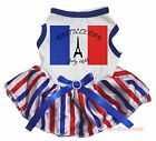 14th July Bastille Day Tower White Top RWB Striped Skirt Pet Dog Puppy Cat Dress