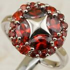 Size 6 7 8 9 Great Nice Garnet Red Flower Gems Jewelry Gold Filled Ring k1982