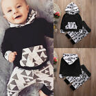 2Pcs Newborn Baby Boy Cotton Long Sleeve Hoodie Sweatshirt+Pants Outfits Set US