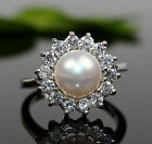 AA Genuine Freshwater Cultured Pearl & Silve Ring 7.5#-8.5#