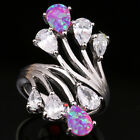 Charismatic Pear Pink Fire Opal White Topaz Gems Silver Rings Size 6 7 8 9 T1063