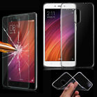 Clear TPU Gel Case Cover & Tempered Glass Screen Protector for Xiaomi Phones