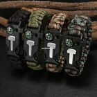 DELUXE PARACORD SURVIVAL BRACELET Compass Fire Camping Whistle Hiking Army GEAR~
