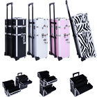 Pro 3 in1 Aluminum Rolling Makeup Cosmetic Train Case Wheeled Box 4 Color New
