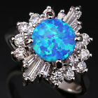 Hot sale Blue Fire Opal Circle Flowers Topaz Silver Ring Size 6 7 8 9 T1161