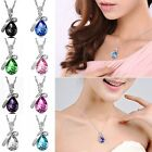 Women Choker Vintage Retro Necklace Jewelry Crystal Heart Chain Multi-Colored