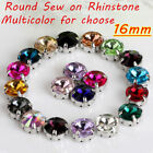 20Pc 16mm DIY Round Glass Crystal Sew On Claw Rhinestone For Dress Bags Clothing