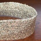 "SILVER FLAT LUREX BRAID 25 MM WIDE (approx 1"") - GLITZY SPARKLY BRAID"