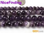 """Natural Faceted Purple Amethyst Quartz Crystal Stone Beads Jewelry Making 15"""""""
