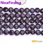 Natural Gemstone Purple Amethyst Coin Stone Beads For Jewelry Making Strand 15""