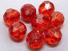 8mm 100/200/300/400/500pcs CLEAR RED FACETED ACRYLIC PLASTIC ROUND BEADS TY3062