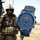 Men Fashion Military Stainless Steel Sport Racing Quartz Analog Wrist Watch BB