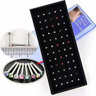 60 X SURGICAL STEEL SILVER NOSE STUDS CRYSTAL GEM BAR BODY RHINESTONE DIAMANTE