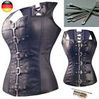 Women Black Steampunk Burlesque Costume Corset Top Overbust Bustier Plus Size AU