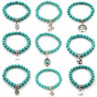Girls Tibetan Silver Stretch Charm Beaded Turquoise Bracelet Dangle 7inch Animal