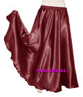 Maroon TMS Satin Half Circle Skirt Belly Dance Maxi 4 5 Yard 30Color Instock