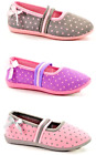 Quality Girls Slippers Ballerina Style Slip On Pink Grey Purple Spotty Sizes NEW