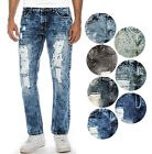 True Rock Men's Straight Fit Destroyed Ripped Repaired Jeans