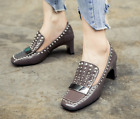 2017 Spring Autumn New Pattern Leather Heel Shoes Handmade Shoes Womens Shoes