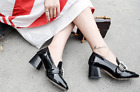 2017 Autumn New High Heeled Square Buckle Pearl Shallow Mouth Women's Shoes