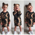 US Kids Baby Girl Long Sleeve Camouflage Tops Summer T-shirt Dress Clothing 1-6T
