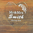 Personalised Engraved Proposal Heart Cake Topper Wedding Anniverasry Mr & Mrs