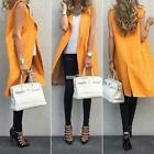 Women's Plain Sleeveless Open Front Solid Long Waistcoat Vest Coat S0BZ
