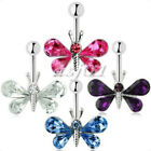 Crystal Butterfly Ball Barbell Bar Belly Button Navel Ring Body Piercing Jewelry