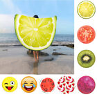 Round Fruit Printed Beach Towel Yoga Mat Wrap Skirt Sun Protection Shawl US