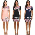 Women Short Sleeve Floral Print Slim Fit Casual Dress B20E