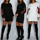 Women Embroidery Long Sleeve Sweatshirt Sweater Loose Jumper Pullover Tops