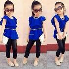Fashion Baby Girls Butterfly Sleeve High Waist Blouse Tops Slim Pant Two B20E