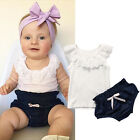 Toddler Kids Outfits Baby Girl Sleeveless Bow T shirt Lace Top Pant Clothes Set