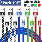 LOT 10FT Braided Micro USB Data Sync Charger Cable Cord for Android Samsung LG