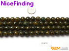 Round Green Yellow Faceted Agate Loose Stone Beads For Jewelry Making Strand 15""