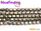 Natural Faceted Olivary Silver Grey Pyrite Rice Stone Beads Jewelry Making 15""