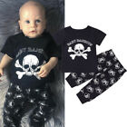 Newborn Toddler Kids Baby Boys Skull Outfits Clothes T-shirt Tops+Pants 2PCS Set