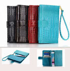 Crocodile Leather Wallet ID Card Stand Flip PU Leather Pouch Lot Case Phones