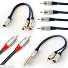 PRO - 2 RCA / 1 RCA - AUDIO CABLES SPLITTERS COUPLERS - SHIELDED GOLD PHONO LEAD
