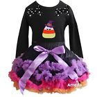 Halloween Pettiskirt Candy Corn Witch Black Party Dress Outfit