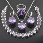 FAHOYO Round  Purple Amethyst 925 Sterling Silver Women Jewelry Sets QS0108