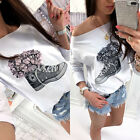 UK Womens Off Shoulder T Shirt Ladies Casual Summer Lace Floral Blouse Tops New