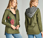 S M L Women's Floral Embroidered Army Green Hoodie Jacket Utility Military Cargo